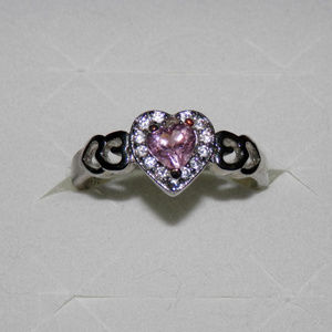 Jewelry - Pink & White CZ Heart Ring sz 9